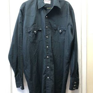 Mens Vintage Western Boot Factory Black Shirt. XL